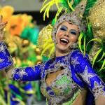 A member of the samba school Grande Rio performs on the second day of parades at the Sambodromo during the Carnival of Rio de Janeiro.